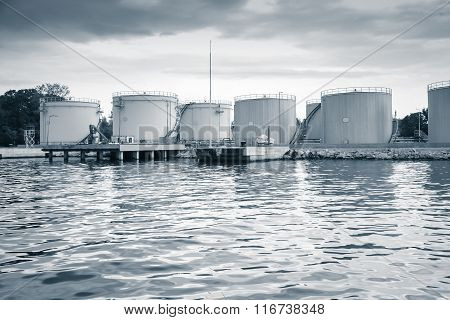 Metal Oil Tanks On The Sea Coast In Varna Port