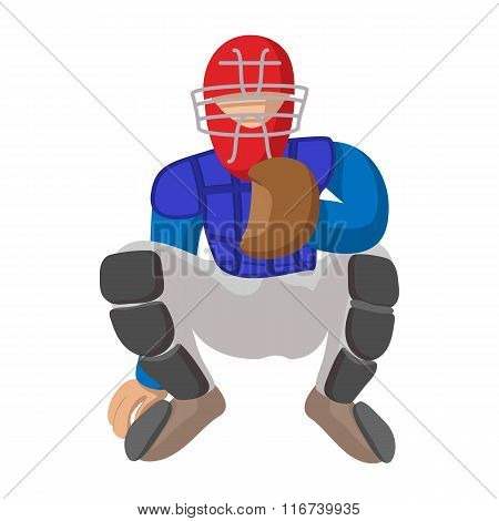 Baseball catcher cartoon icon