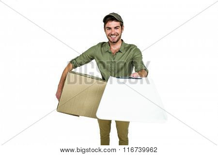 Handsome postman holding clipboard on white screen