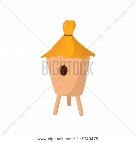 Beehive covered with straw cartoon icon