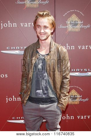 Tom Felton at the John Varvatos 9th Annual Stuart House Benefit Presented By Chrysler And Hasbro held at the John Varvatos Boutique, California, United States on March 11, 2012.