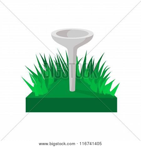 Golf tee on green grass cartoon icon