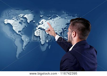 Business success strategy concept. Businessman in suit introduce something on world map background