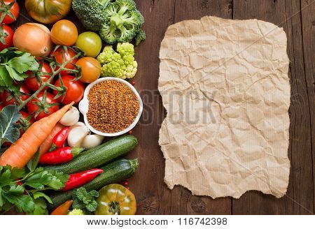 Uncooked Red Millet With Vegetables And Notebook
