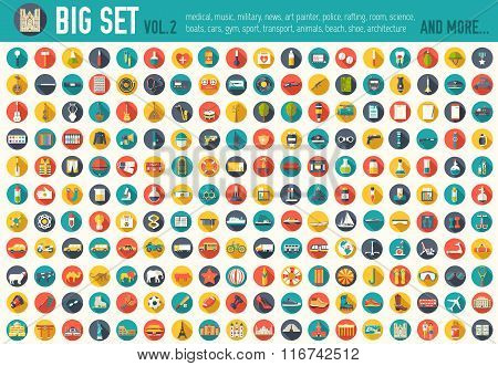 Vol 2. Flat big collection set icons of medical, army, war, tools, nature, building, home, office, c