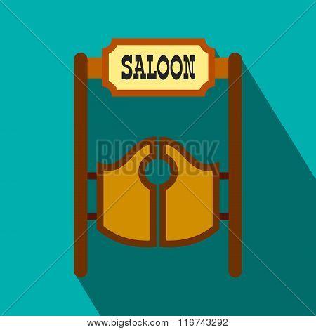 Old western swinging saloon doors flat icon
