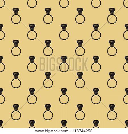 Diamond ring seamless pattern. Ring with diamond symbol.