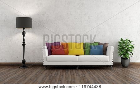 Retro Living Room With Colorful Couch