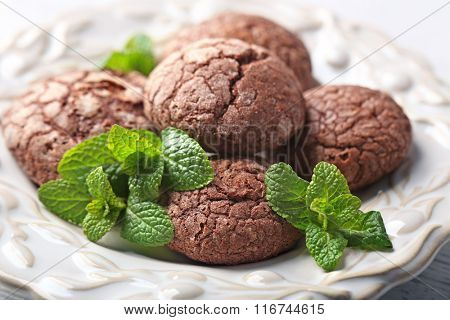 Chocolate chip cookie with mint in plate, closeup