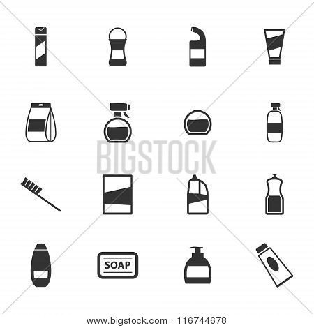Houshold chemicals icons set