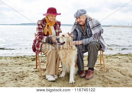 Seniors by seaside