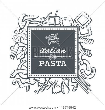 monochrome restaurant banner with various pasta elements