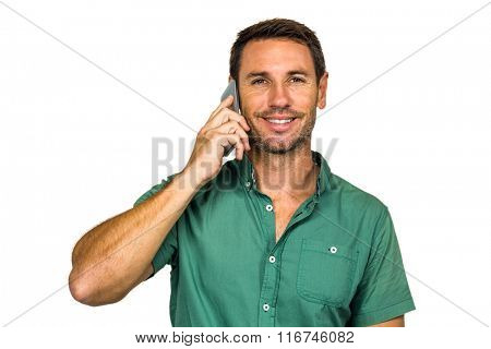 Man on phone call smiling at camera on white screen
