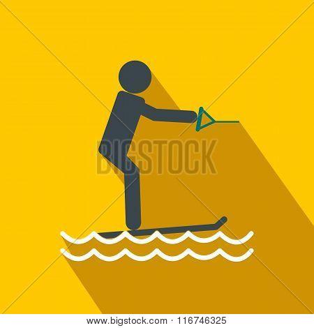 Water skiing flat icon
