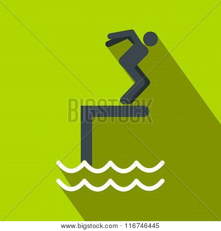 Jumping in a pool flat icon