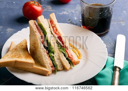 Sandwich Prepared From Toasts With Chicken