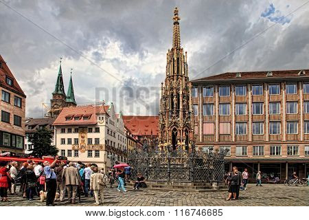 Nurnberg, Germany - July 13 2014: Hauptmarkt, The Central Square Of Nuremberg, Bavaria, Germany.  Nu