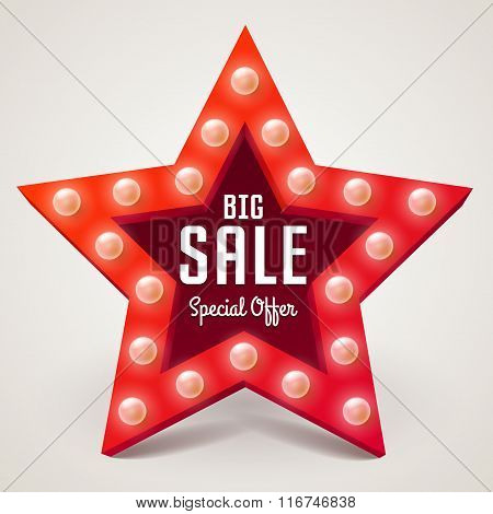 Vector Big Sale Retro Light Banner. Star Frame With Bulb For Shopping