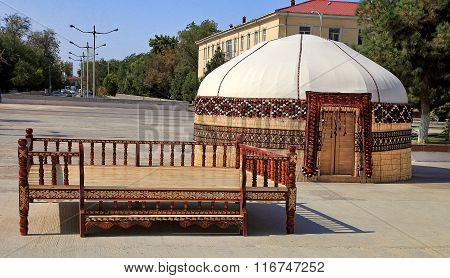 Ethnic Nomadic Yurt-building And Trestle-bed, Built For The Celebration Of Novruz.