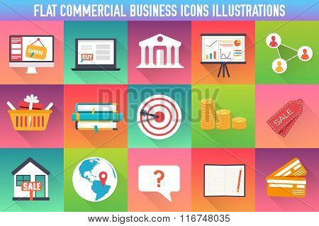 set flat business commerce icons modern design. Vector illustration concept. Template for website an