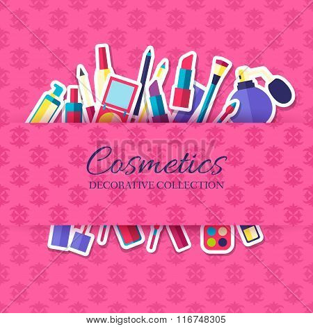 Women makeup cosmetics elements on pink background poster in sticker style design. Vector illustrati