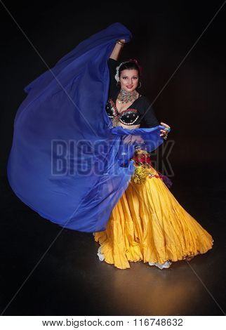 Beautiful Exotic Belly Tribal Dancer Woman With Blue Shawl