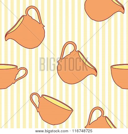 Tea cup seamless pattern on striped background