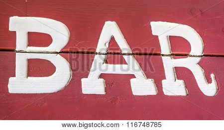 Red And White Bar Sign In Truckee