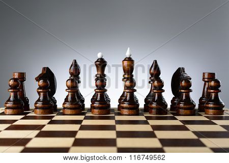 All The Black Pieces On Chessboard