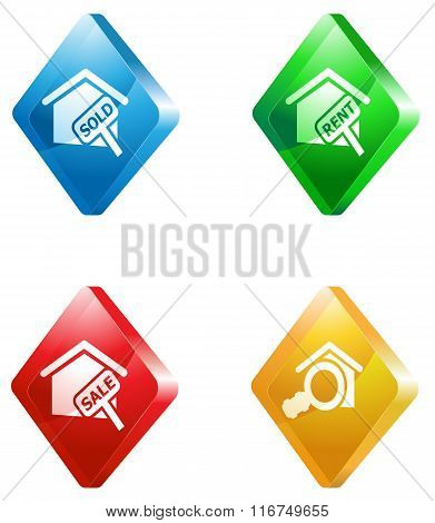Real Estate glass transparent icon set