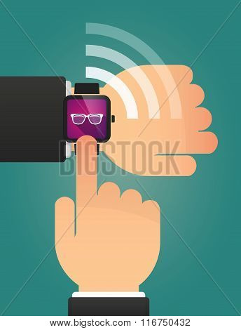 Hand Pointing A Smart Watch With A Glasses