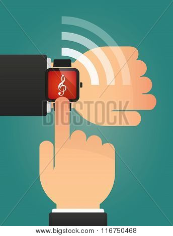 Hand Pointing A Smart Watch With A G Clef