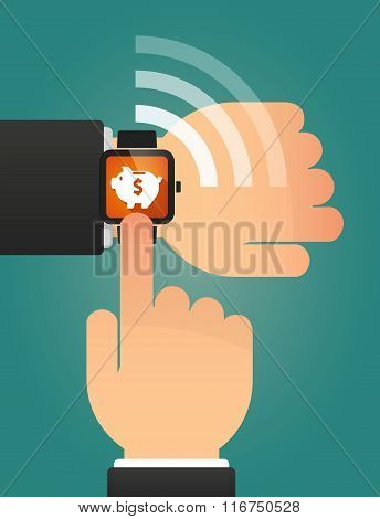 Hand Pointing A Smart Watch With A Piggy Bank