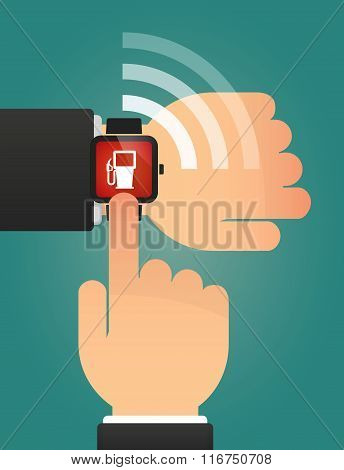 Hand Pointing A Smart Watch With A Gas Station