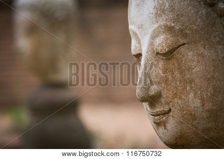 Buddha Statue In Wat Umong, Chiang Mai, Travel Thai Temple In Northern Thailand, Thailand