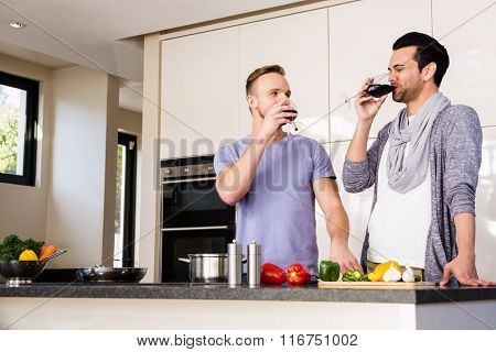 Smiling gay drinking red wine in the kitchen
