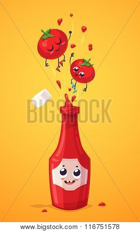 Set of ketchup characters. Vector cute cartoons