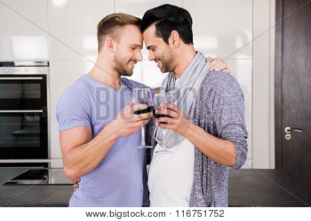 Smiling gay couple toasting with red wine in the kitchen