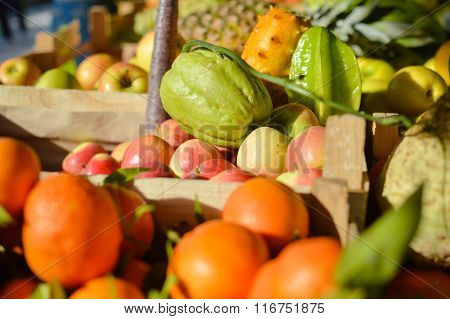 Colorful background from many different fruits at a farmers market