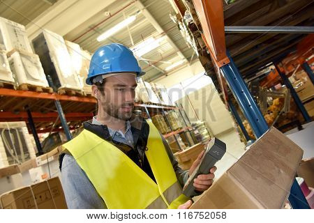 Warehouseman scanning products ready for delivery