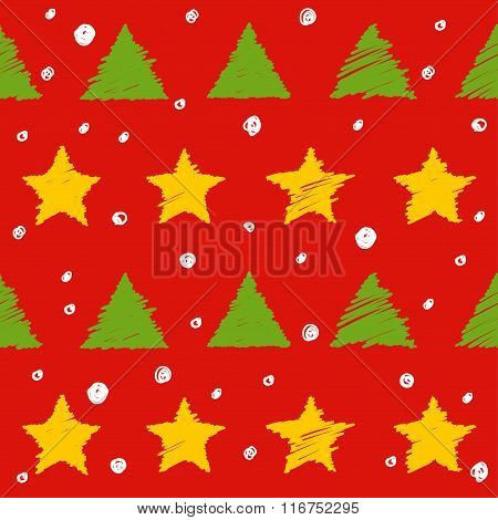 Doodle Seamless Pattern Background. New Year And Christmas Colors.
