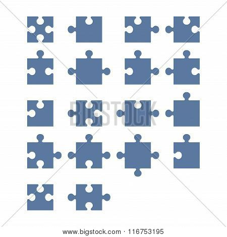 Jigsaw Puzzle Blank Constructor. Total Parts Set. Vector