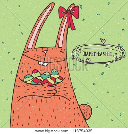 Happy Easter Rabbit With Easter Eggs