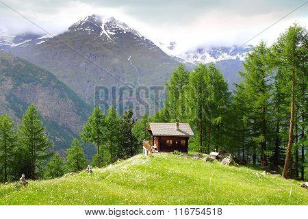 The beautiful  rural landscape with chalet near Zermatt.
