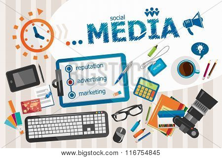 Media Design Concept. Typographic Poster.