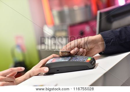 Closeup of credit card NFC payment