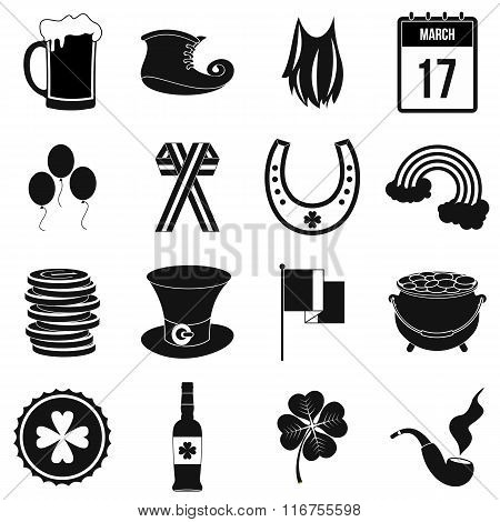 St Patrick Day black simple icons