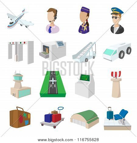 Airport cartoon icons