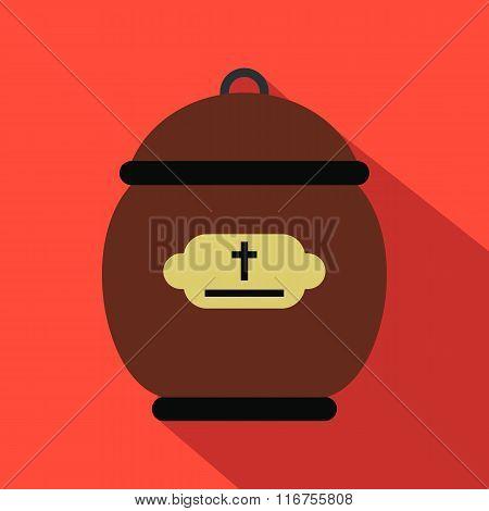 Cremation urn flat icon