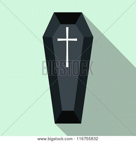 Black classical coffin flat icon